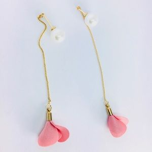 New! Pink Rose Flower Pearl Chain Drop Earrings